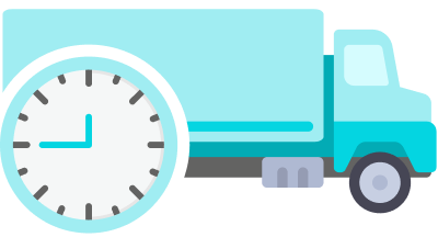 camion bleu horloge convoyage